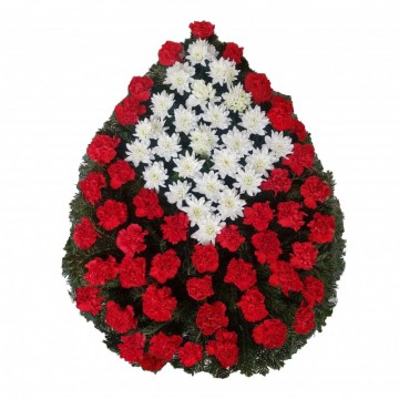 Poza Coroana funerara din garoafe si crizanteme