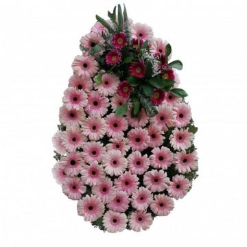Poza Coroana funerara din gerbera roz si violet