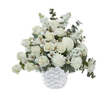 Poza Cos funerar din trandafiri si crizanteme albe