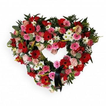Poza Inima funerara din trandafiri, crizanteme si gerbera
