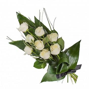 Poza Buchet funerar din trandafiri albi