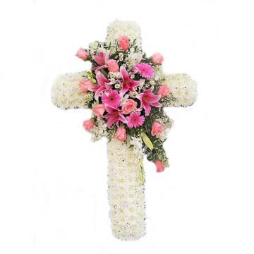 Poza Cruce funerara din crizanteme si flori roz