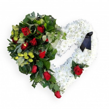 Poza Inima funerara din trandafiri rosii si crizanteme