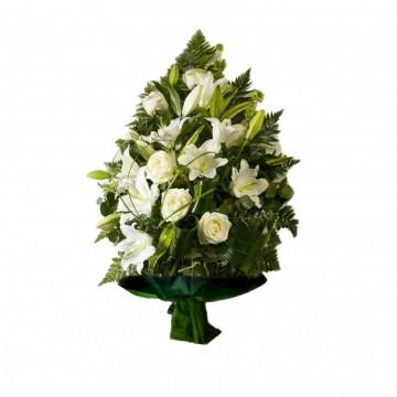Poza Jerba funerara din trandafiri si crini albi