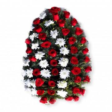 Poza Coroana funerara din trandafiri rosii si crizanteme albe. Poza 8