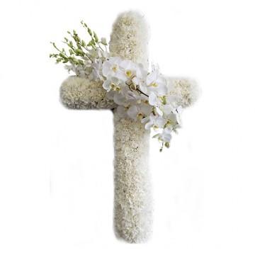 Poza Cruce funerara din crizanteme albe si orhidee