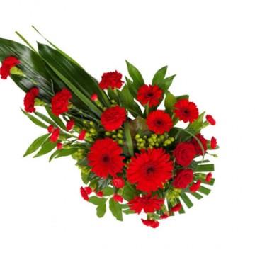 Poza Buchet funerar din gerbera si garoafe rosii