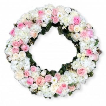 Poza Coroana funerara rotunda din trandafiri roz si hortensii albe