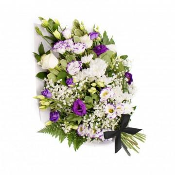 Poza Buchet funerar din lisianthus si crizanteme