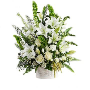 Poza Cos funerar din flori albe