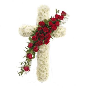 Poza Cruce funerara din crizanteme albe si trandafiri rosii