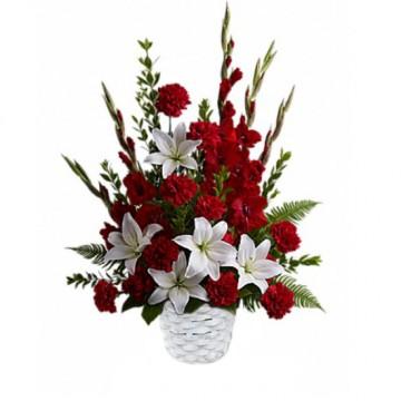 Poza Cos funerar din crini albi si garoafe rosii