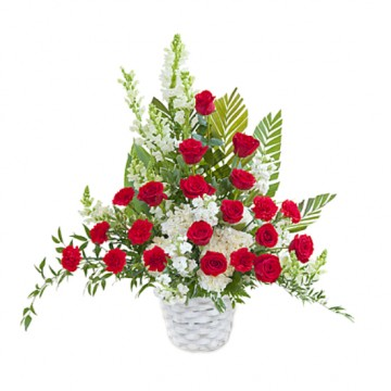 Poza Cos funerar din trandafiri si garoafe rosii