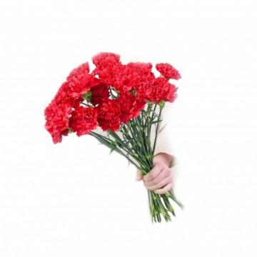 Poza Buchet funerar din crizanteme rosii