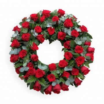 Poza Coroana funerara rotunda din trandafiri rosii p2