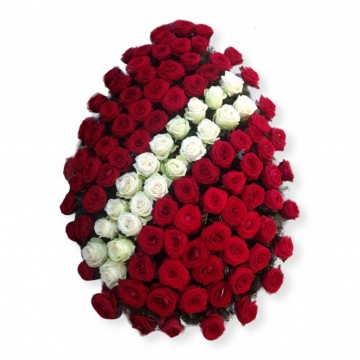 Poza Coroana funerara din trandafiri rosii si albi